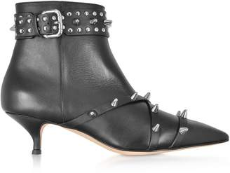 RED Valentino Black Leather Mid-heel Ankle Boots