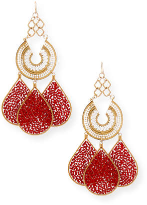 Devon Leigh Red Teardrop Chandelier Earrings