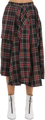 428335938c Pushbutton Asymmetric Draped Plaid Midi Skirt