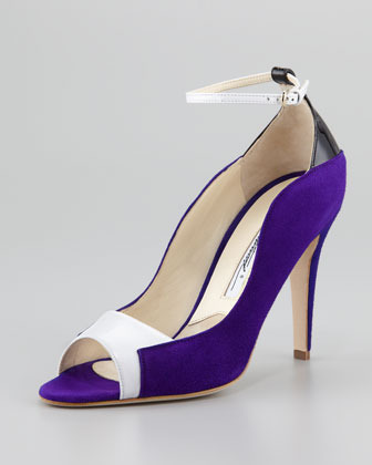Brian Atwood Evie Contoured Suede Ankle-Wrap Pump, Purple/Black/White