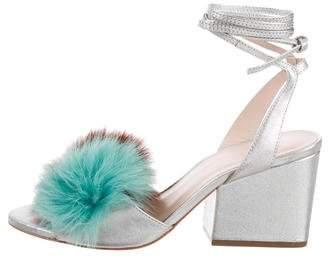 Loeffler Randall Fox Fur Lace-Up Sandals