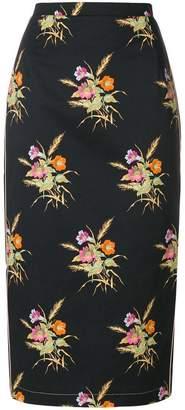 No.21 floral pencil skirt