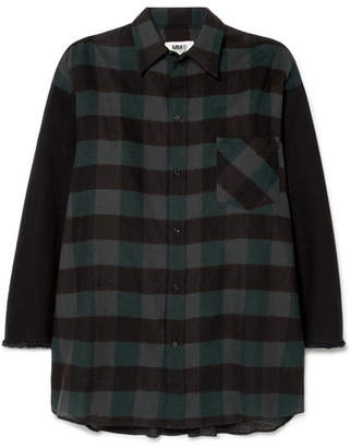 MM6 MAISON MARGIELA Oversized Checked Cotton-flannel Mini Dress - Black