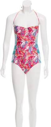 We Are Handsome Printed One-Piece Swimsuit w/ Tags