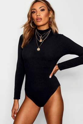 boohoo Turtle Neck Long Sleeve Knitted Rib Bodysuit