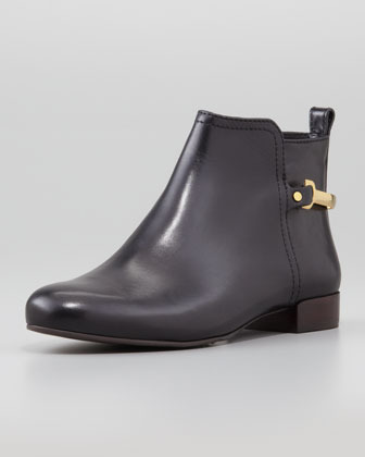 Tory Burch Jess Low-Ankle Leather Bootie, Black