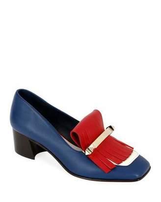 Valentino Uptown Colorblock Kitten-Heel Kiltie Loafers