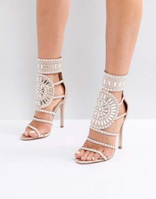 Public Desire Cleopatra Embellished Heeled Sandals in Rose Gold Satin