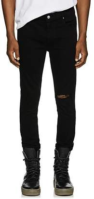 RtA MEN'S LEATHER-BACK SKINNY JEANS - BLACK SIZE 29