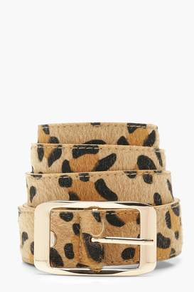 boohoo Plus Leopard Boyfriend Belt With Gold Buckle