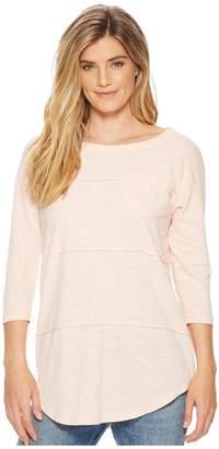 Mod-o-doc Micro Stripe 3/4 Sleeve Raw Edge Seamed T-Shirt Women's T Shirt