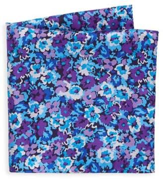 Saks Fifth Avenue Pansy-Print Silk Pocket Square