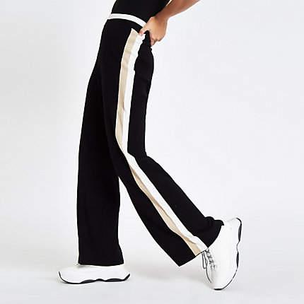 Womens Black knit side stripe varsity trousers