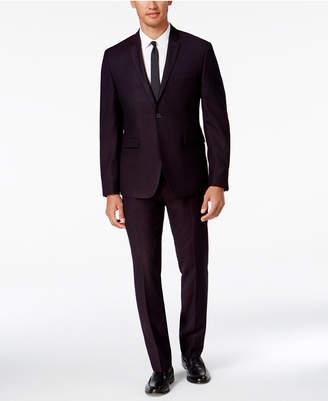 Perry Ellis Portfolio Men's Extra Slim-Fit Dark Burgundy Pindot Suit $375 thestylecure.com