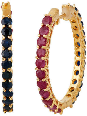 FINE JEWELRY LIMITED QUANTITIES Lead Glass-Filled Ruby and Genuine Blue Sapphire Hoop Earrings