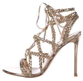 Gianvito Rossi Metallic Lace-Up Sandals