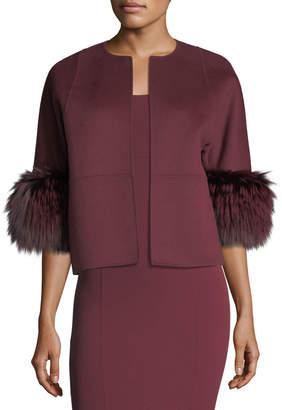 Michael Kors Fur-Cuff Open-Front Jacket