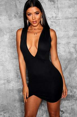 boohoo Deep Plunge Wrap Thigh Split Bodycon Dress