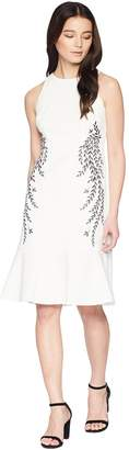 Adrianna Papell Petite Knit Crepe Embroidered Trumpet Dress Women's Dress