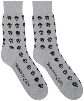 Alexander McQueen Silver and Black Glittered Short Skull Socks