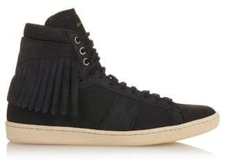 SAINT LAURENT Fringed high-top suede trainers $795 thestylecure.com