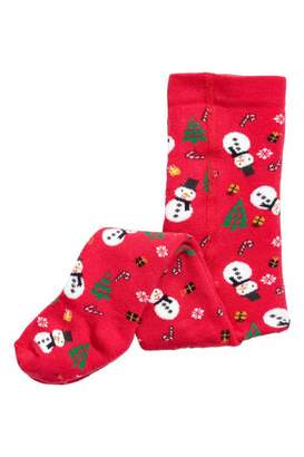 H&M Terry Tights - Red/snowman - Kids
