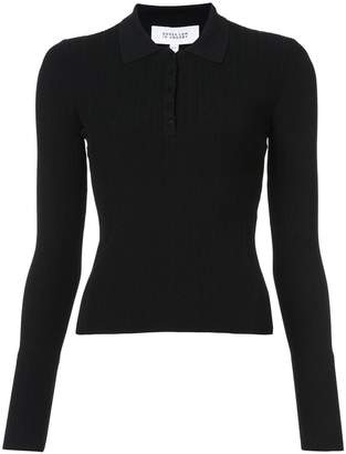 Derek Lam 10 Crosby Long Sleeve Polo With Back Band Detail