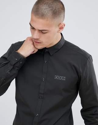 HUGO Ero3 extra slim fit poplin logo shirt in khaki