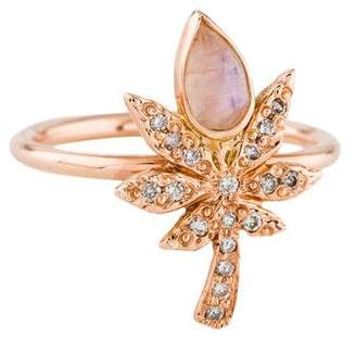 Jacquie Aiche 14K Moonstone & Diamond Sweet Leaf Ring