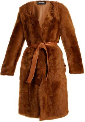 Rochas Belted collarless shearling coat