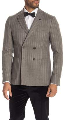 Scotch & Soda Stripe Double Breasted Peak Lapel Virgin Wool Blazer