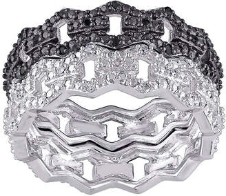 Black Diamond FINE JEWELRY 1/8 CT. T.W. White and Color-Enhanced Black Two-Tone Sterling Silver Ring Set