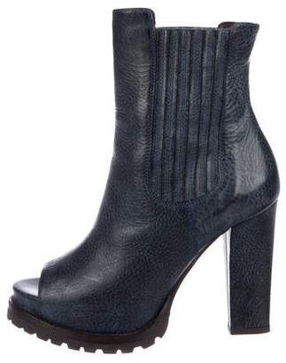 Brunello Cucinelli Peep-Toe Ankle Boots