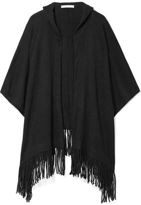 Skin - Gabriella Hooded Fringed Cashmere Cape - Black