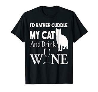 Storecastle: I'd Rather Cuddle My Cat And Drink Wine T-Shirt