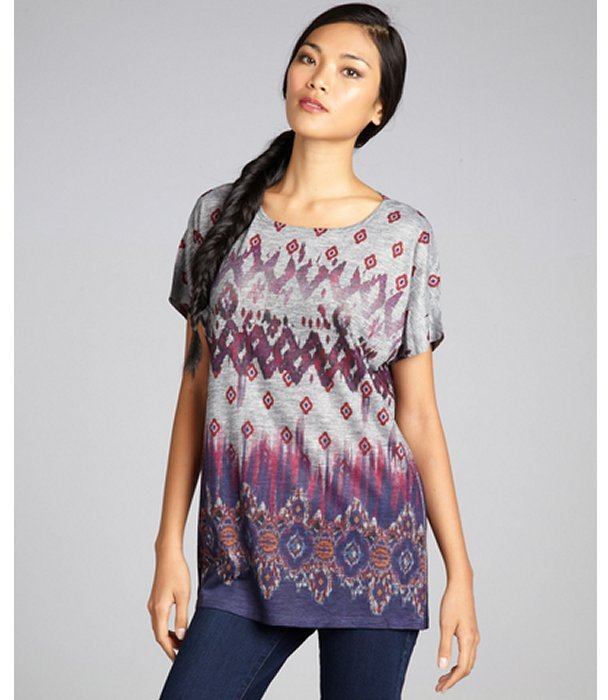 Romeo & Juliet Couture grey and purple aztec print stretch jersey cap sleeve tunic
