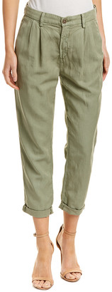 AG Jeans The Evan Sulfur Olive Relaxed Pleated Linen-Blend Trouser