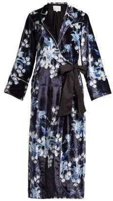 Johanna Ortiz New Sunrise Floral Print Velvet Gown - Womens - Blue Multi