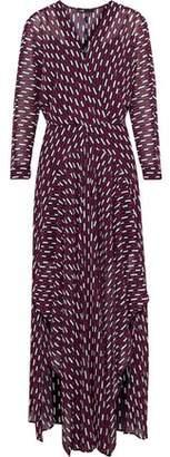 Maje Ramina Wrap-Effect Printed Crepe De Chine Maxi Dress