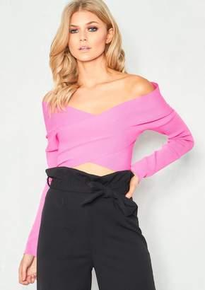 42c4cca90bab Missy Empire Lauren Hot Pink Bardot Cross Over Bodycon Crop Top