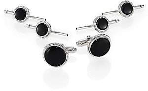 David Donahue Men's Sterling Silver and Onyx Stud Set
