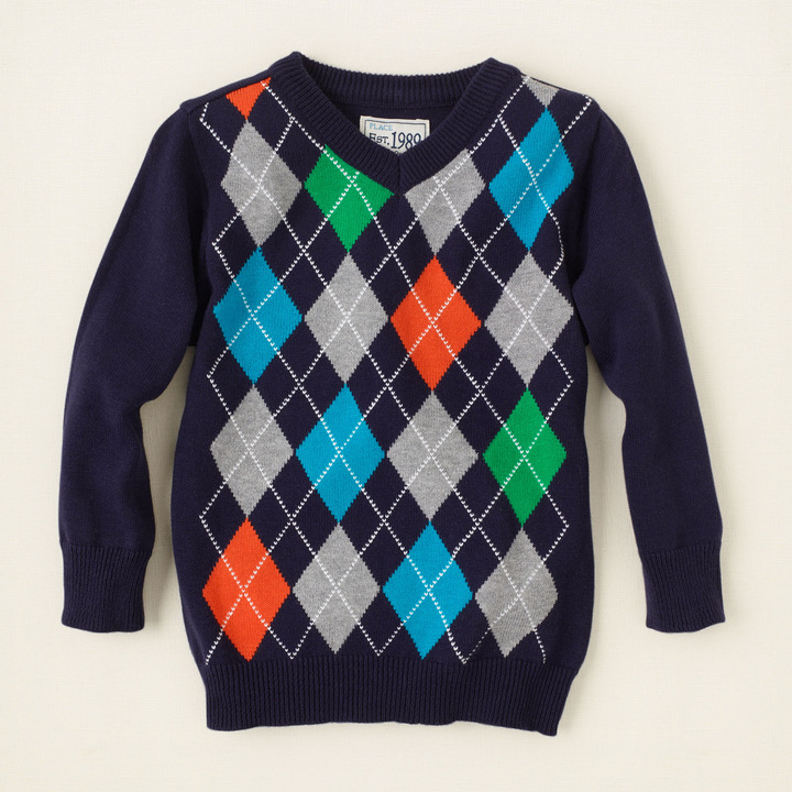 Children's Place Argyle v-neck sweater