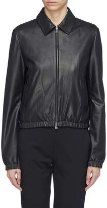 Theory Lambskin leather cropped bomber jacket