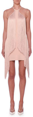 Stella McCartney Sleeveless Illusion Wing Fringe Stretch-Cady Mini Dress