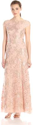 Vera Wang Women's Cap Sleeve Sequin Lace Gown