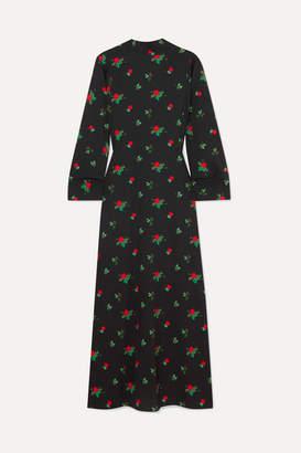 BERNADETTE - Open-back Floral-print Crepe De Chine Maxi Dress - Black