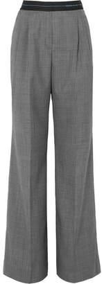 Prada Checked Wool Wide-leg Pants - Gray