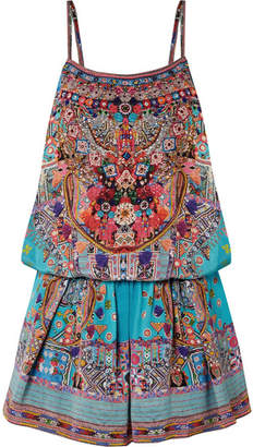 Camilla The Long Way Home Embellished Silk Crepe De Chine Playsuit - Turquoise