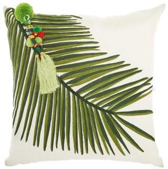 Nourison Royal Palm Palm Left Tassel Green Throw Pillow