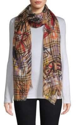 Burberry Vintage Check-Print Gauze Oblong Wool& Silk Scarf